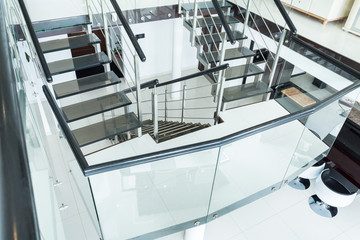 Glass stairs in the residence