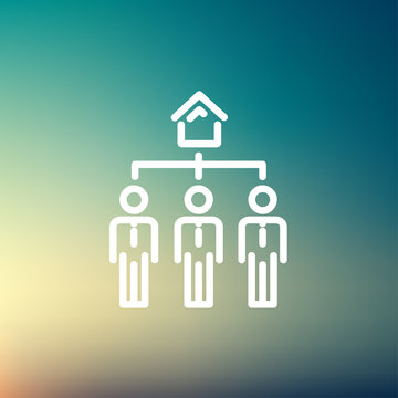 Three real estate agent in one house thin line icon