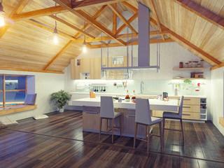 attic modern kitchen interior