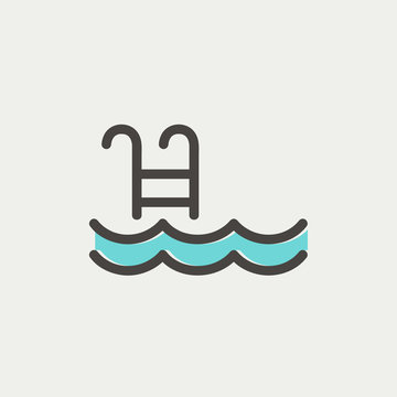 Swimming pool with ladder thin line icon