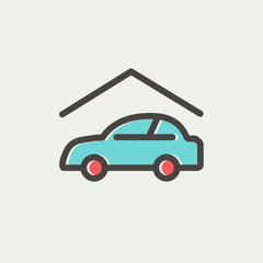 Car garage thin line icon