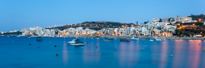 St Paul's Bay, Malta during blue hour
