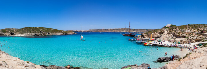 Panoramic view Blue Lagoon, Comino, Malta