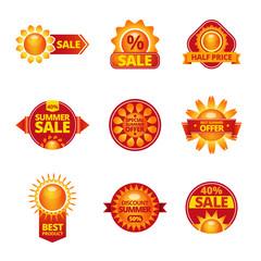 Summer sale labels set