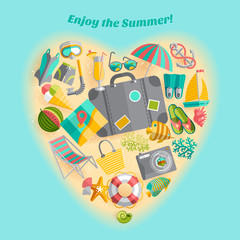Summer vacation heart composition icon poster