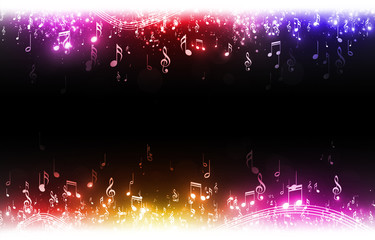 Multicolor Music Notes Background