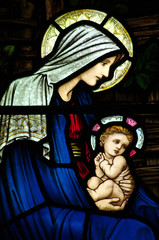 Wall Mural - Mary and baby Jesus in stained glass