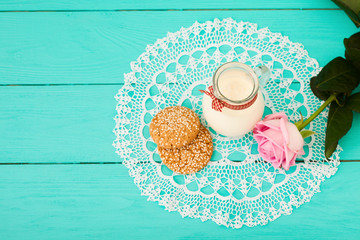 Wedding breakfast on blue wooden background. Top view