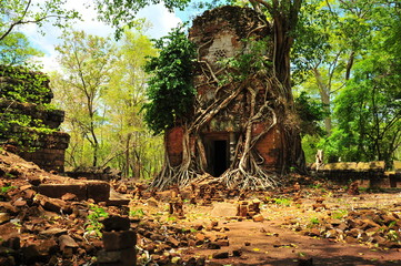Ruins of Koh Ker Temple in Cambodia
