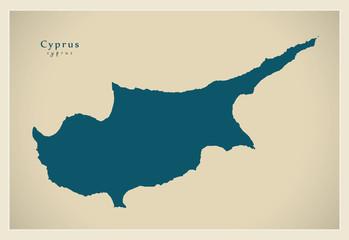Modern Map - Cyprus United Island CY