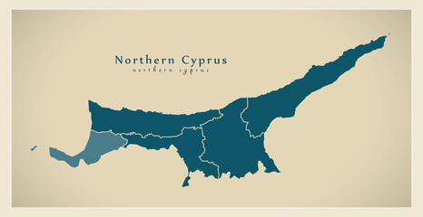 Modern Map - Northern Cyprus with regions CY