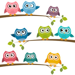 Canvas Prints Owls cartoon Set of colorful cartoon owls on branches