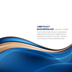 Abstract blue vector wavy background