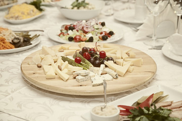 cheese plate on the festive table