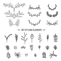 Big set of vintage floral elements. Doodle style. Vector.