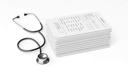 Stethoscope with a stack of medical patient forms on white