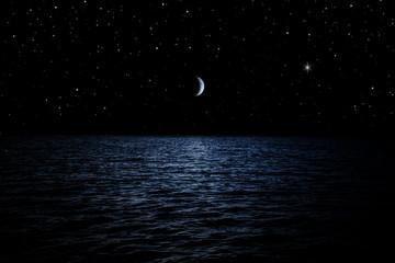 Printed kitchen splashbacks Night Sternenhimmel über dem Meer