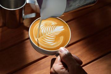 Fototapeta Making of cafe latte art obraz