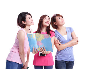 Happy group travel women