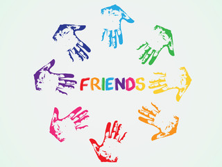 Circle of color hands with word friend