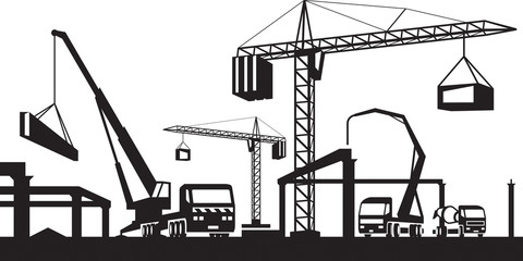 Industrial construction scene - vector illustration