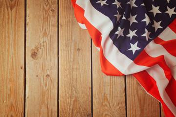 USA flag on wooden background. 4th of july celebration