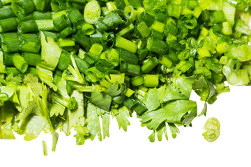 spring onion and coriander sliced for garnish