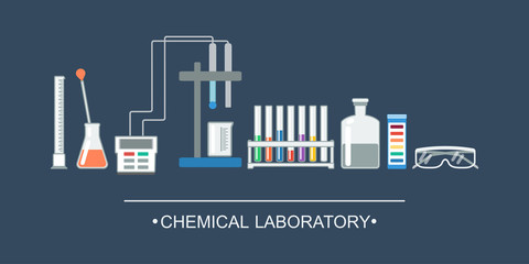 Banner chemical objects. Chemical laboratory equipment, ion electrode. vector