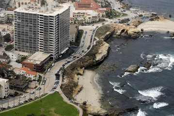 Aerial view of La Lolla Shores, California, USA.