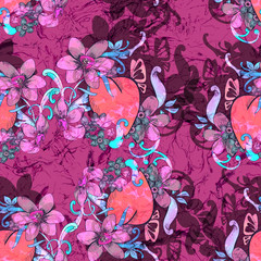 Heart with flowers. Seamless pattern