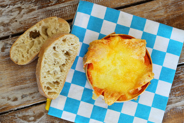 Baked cheese and ciabatta bread
