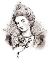 Sketch of woman baroque