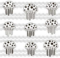 vector illustration monochrome background jellyfish