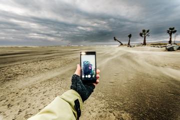 Selfie in the landscape