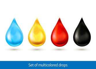 Set of multicolored drops