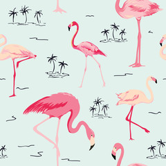 Door stickers Flamingo Flamingo Bird Background - Retro seamless pattern