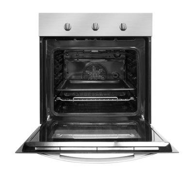 Electric oven with open door