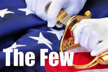 The Few - USMC symbols of saber, gloves, flag