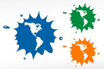 Americas map vector color blob