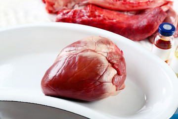 Heart organ in medical metal tray on table close up