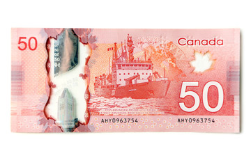 Canadian 50 Dollar, isolated on white