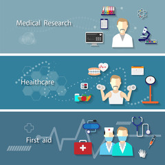Medical set with research health care first aid symbols isolated