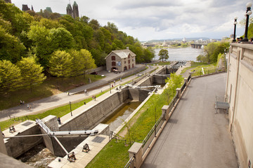 the canal locks along the Rideau canal in Ottawa Canada