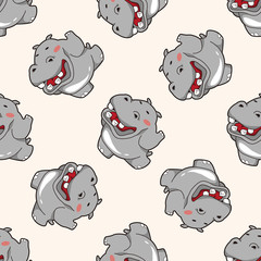 animal hippo cartoon , cartoon seamless pattern background