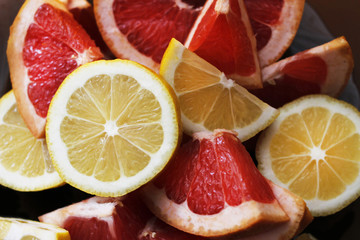 grapefruit and lemon slices