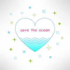 Vector save the ocean background in modern flat design. Sea