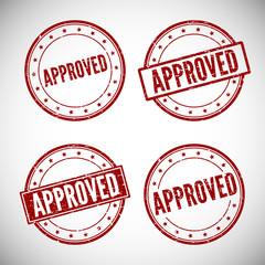Approved stamp, vector illustration.
