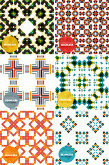 Vector set of colorful seamless geometric patterns. Modern