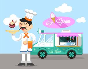 Vector flat ice cream illustration