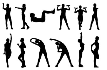 Set  of various woman sports fitness exercising silhouettes